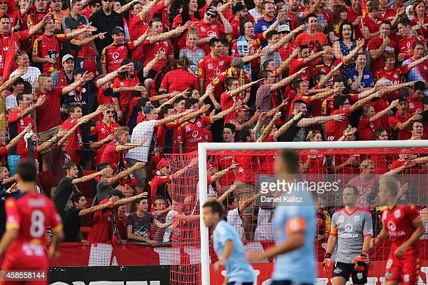 Fans react during the round five ALeague match between Adelaide United and Sydney FC at Coopers Stadium on November 7 2014 in Adelaide Australia