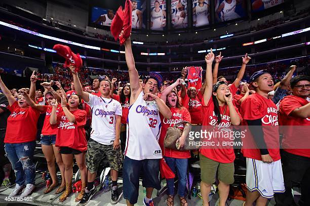 Fans react to introductions of players the coach and Steve Ballmer the new owner of the Los Angeles Clippers of the NBA on August 18 2014 at Staples...