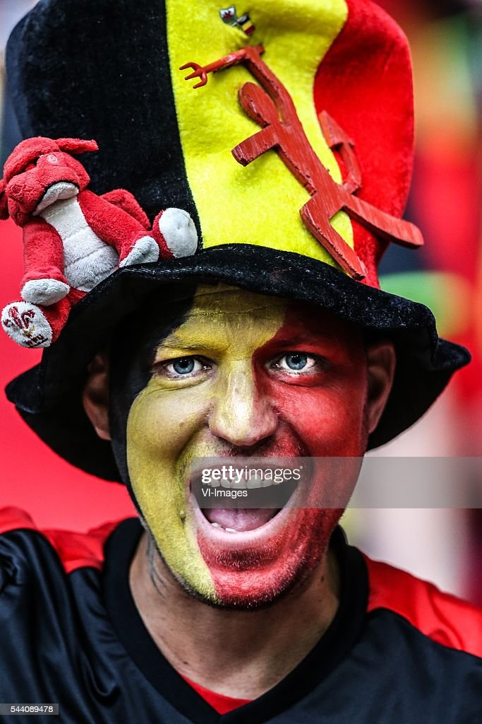fans, red devil, supporter, sminck, had, fan during the UEFA EURO 2016 quarter final match between Wales and Belgium on July 2, 2016 at the Stade Pierre Mauroy in Lille, France.
