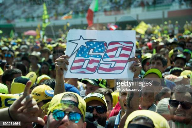 Fans remeber Nicky Hayden of USA during the MotoGP race during the MotoGp of Italy Race at Mugello Circuit on June 4 2017 in Scarperia Italy