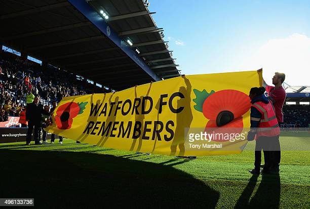 Fans remember fallen members of the armed forces ahead of Remembrance Day prior to the Barclays Premier League match between Leicester City and...