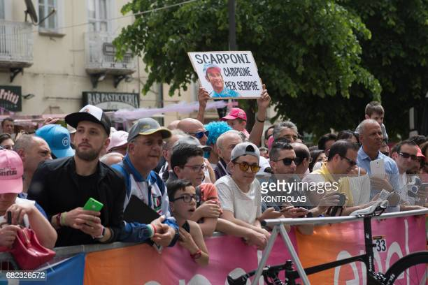 CASTROVILLARI CALABRIA ITALY Fans remember Michele Scarponi winner of Giro d'Italia 2011 died in an accident during the event for the start of the...
