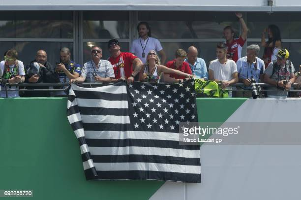 Fans remember Nicky Hayden of USA during the MotoGP race during the MotoGp of Italy Race at Mugello Circuit on June 4 2017 in Scarperia Italy
