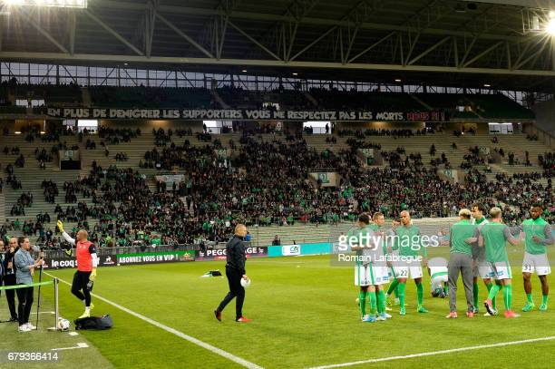 Fans SaintEtienne during the Ligue 1 match between As Saint Etienne and Girondins de Bordeaux at Stade GeoffroyGuichard on May 5 2017 in SaintEtienne...