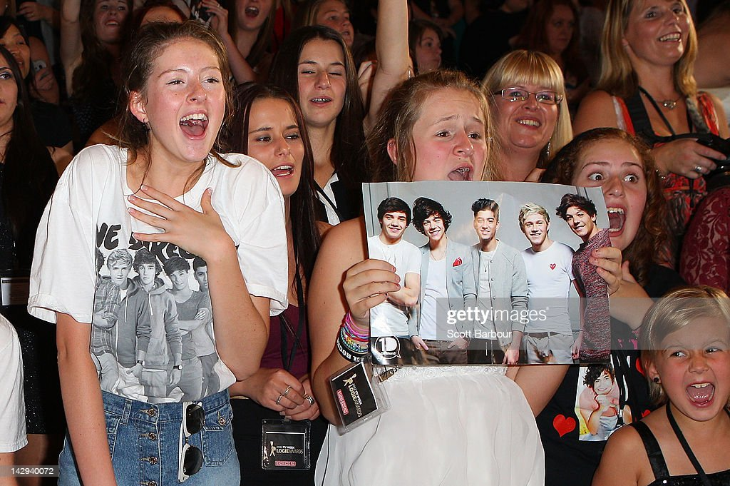 Fans scream as One Direction arrive at the 2012 Logie Awards at the Crown Palladium on April 15, 2012 in Melbourne, Australia.