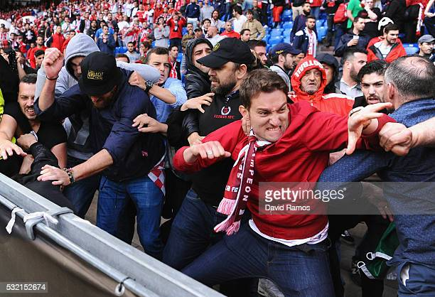 Fans scuffle prior to the UEFA Europa League Final match between Liverpool and Sevilla at St JakobPark on May 18 2016 in Basel Switzerland