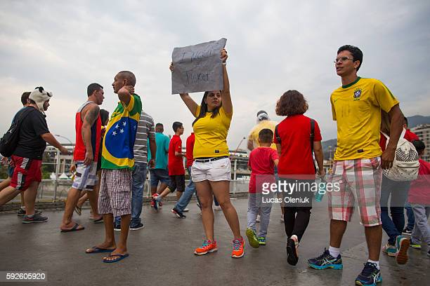 Fans searched for tickets in the hours leading up to the gold medal football match between Germany and Brazil at the Maracanã Stadium in Rio Brazil...