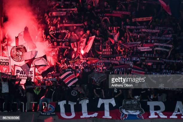 PSG Fans set of Flares during the UEFA Champions League match between RSC Anderlecht and Paris SaintGermain at Constant Vanden Stock Stadium on...