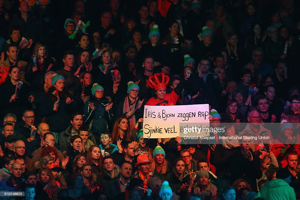 Fans show a banner during Day 3 of ISU Short Track World Cup at Sportboulevard on February 14, 2016 in Dordrecht, Netherlands.