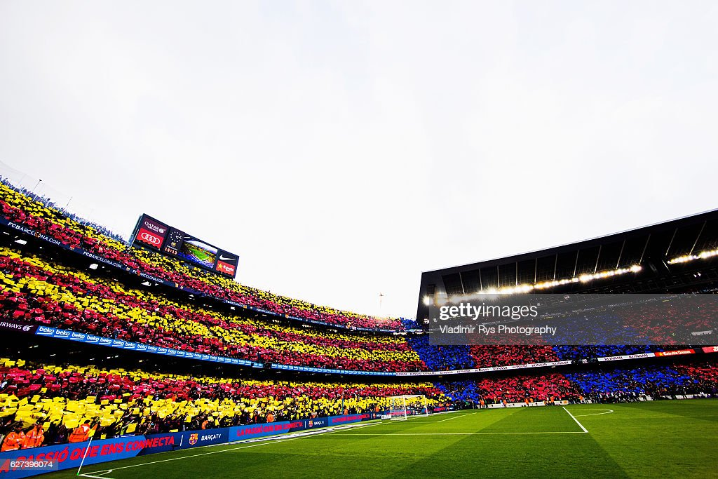 Fans show a choreaography prior to the La Liga match between FC Barcelona and Real Madrid CF at Camp Nou stadium on December 03 2016 in Barcelona...