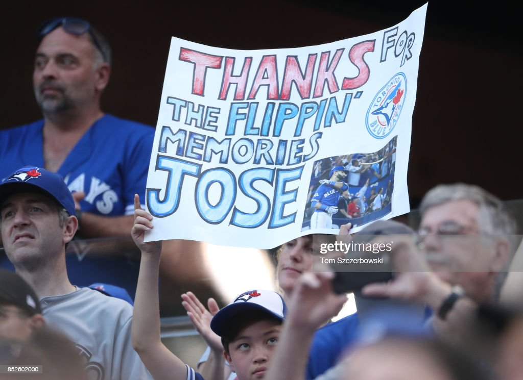 Fans show their appreciation for Jose Bautista #19 of the Toronto Blue Jays as he is announced before his at bat in the sixth inning during MLB game action against the New York Yankees at Rogers Centre on September 23, 2017 in Toronto, Canada.