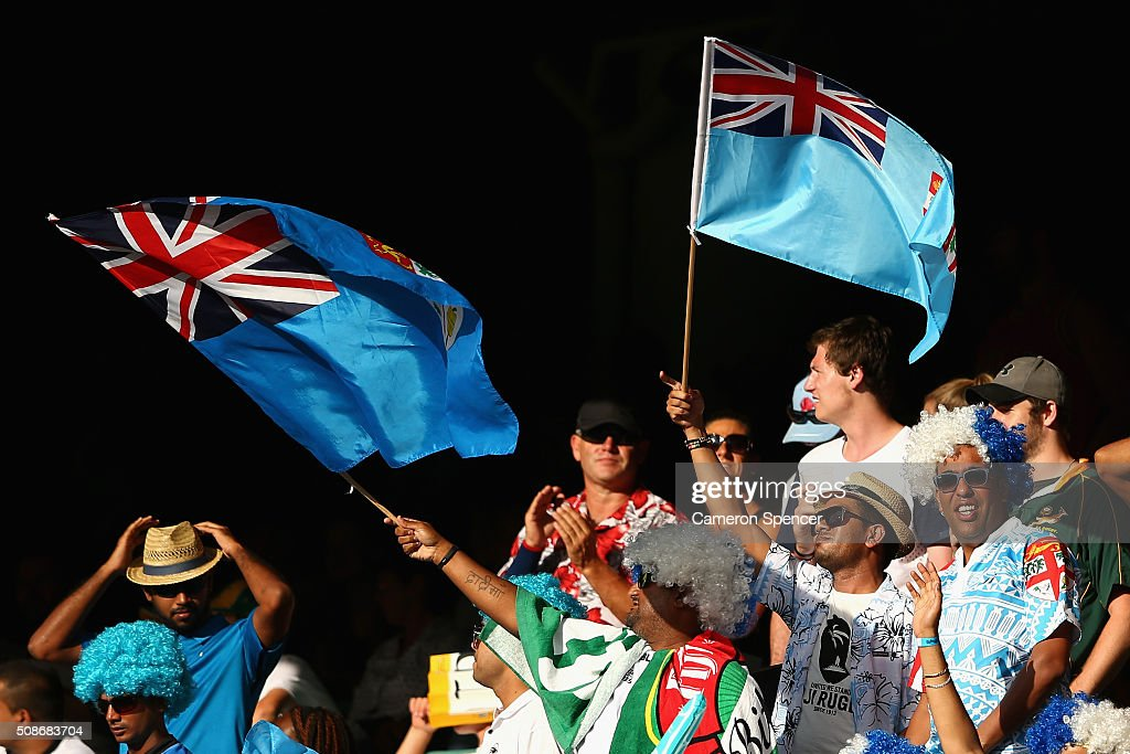 Fans show their colours during the 2016 Sydney Sevens at Allianz Stadium on February 6, 2016 in Sydney, Australia.