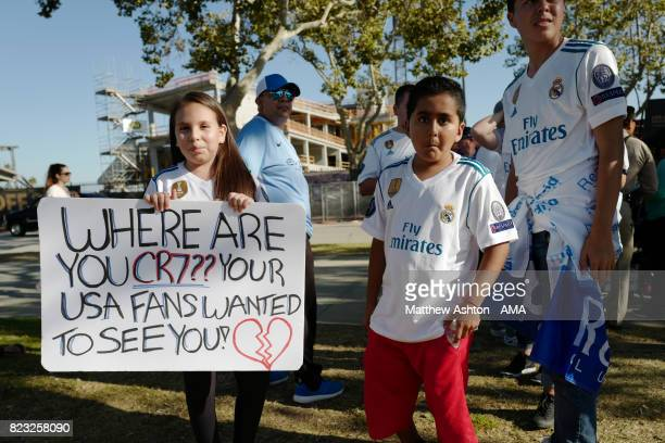 Fans show their concern of Cristiano Ronaldo of Real Madrid not appearing in the International Champions Cup 2017 match between Manchester City and...