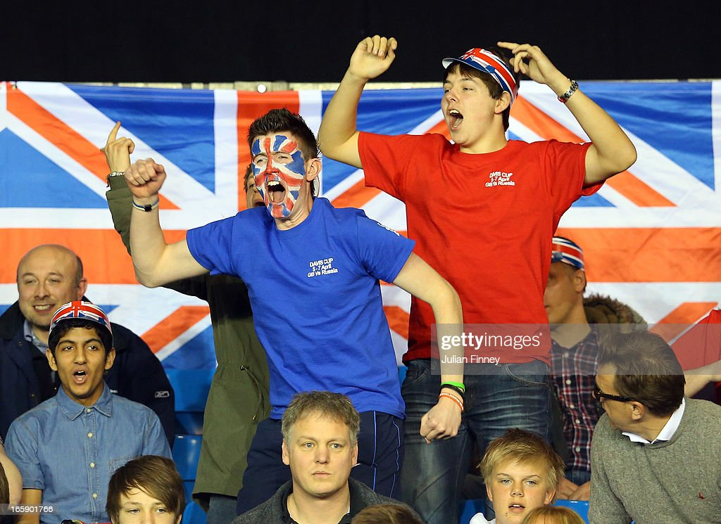 GB fans show their support as James Ward of Great Britain plays Dmitry Tursunov of Russia during day three of the Davis Cup match between Great Britain and Russia at the Ricoh Arena on April 7, 2013 in Coventry, England.