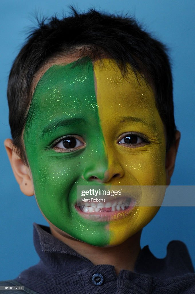 Fans show their support before the International Twenty20 match between Australia and the West Indies at The Gabba on February 13, 2013 in Brisbane, Australia.