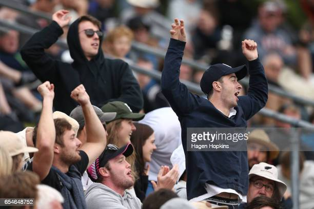 Fans show their support during day three of the test match between New Zealand and South Africa at Basin Reserve on March 18 2017 in Wellington New...