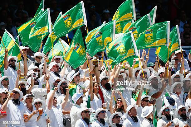 Fans show their support during day two of the 2nd Test at Newlands Stadium on January 3 2016 in Cape Town South Africa