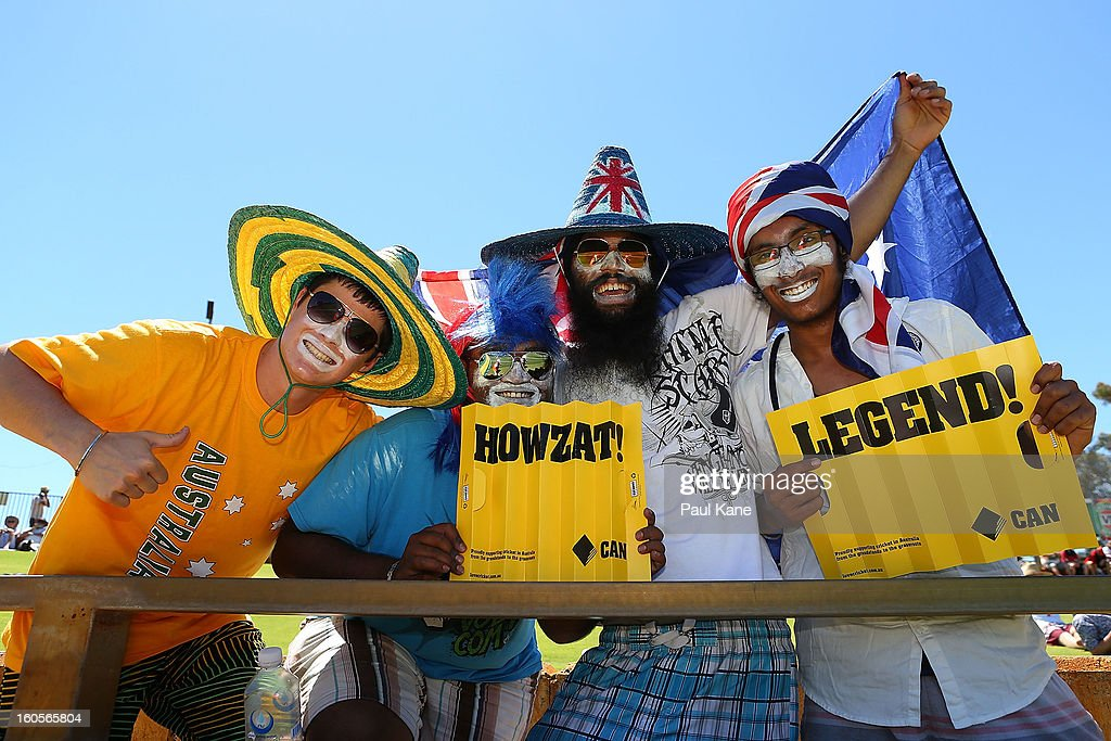 Fans show their support during game two of the Commonwealth Bank One Day International Series between Australia and the West Indies at WACA on February 3, 2013 in Perth, Australia.