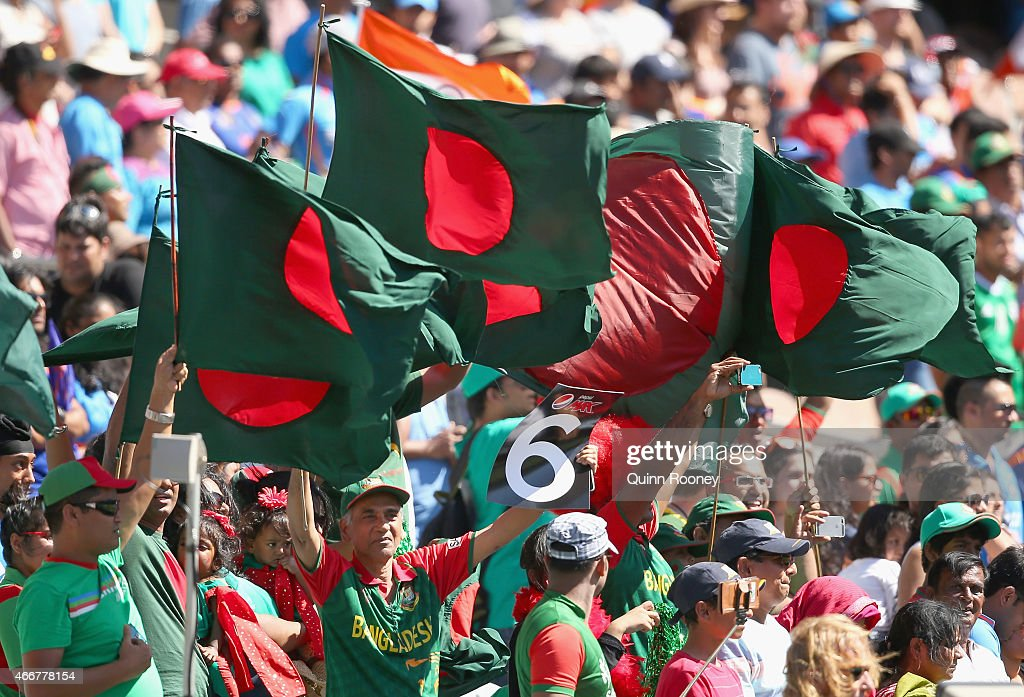 Fans show their support during the 2015 ICC Cricket World Cup Quater Final match between India and Bangldesh at Melbourne Cricket Ground on March 19...