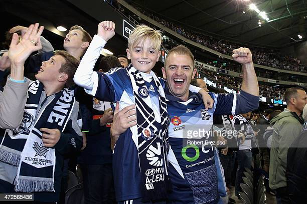 Fans show their support during the ALeague semi final match between Melbourne Victory and Melbourne City at Etihad Stadium on May 8 2015 in Melbourne...