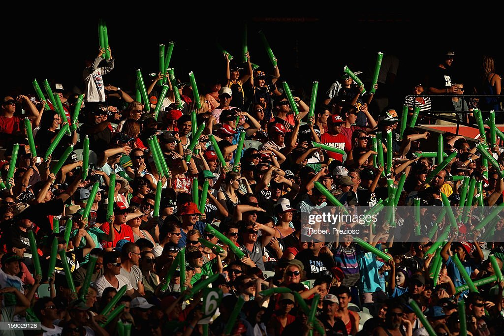 Fans show their support during the Big Bash League match between the Melbourne Stars and the Melbourne Renegades at Melbourne Cricket Ground on January 6, 2013 in Melbourne, Australia.