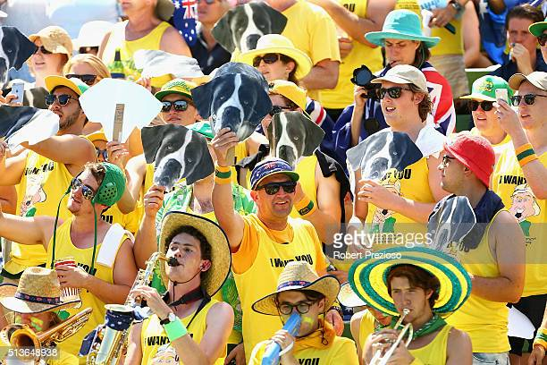 Fans show their support during the Davis Cup tie between Australia and the United States at Kooyong on March 4 2016 in Melbourne Australia