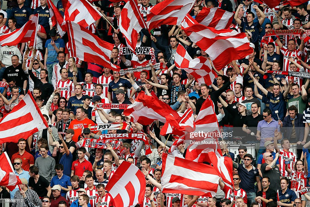 PSV fans show their support during the Eredivisie match between PSV Eindhoven and Ajax Amsterdam at Philips Stadion on April 14, 2013 in Eindhoven, Netherlands.