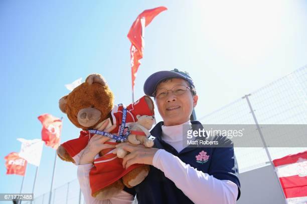 Fans show their support during the HSBC World Rugby Women's Sevens Series 2016/17 Kitakyushu at Kitakyushu Stadium on April 23 2017 in Kitakyushu...