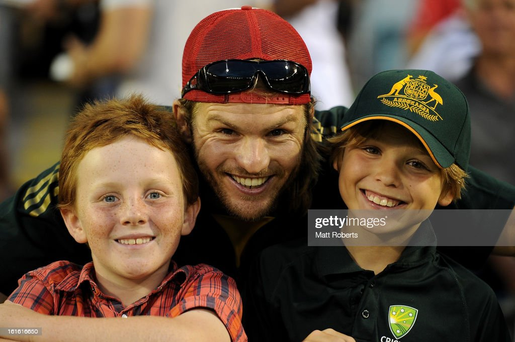 Fans show their support during the International Twenty20 match between Australia and the West Indies at The Gabba on February 13, 2013 in Brisbane, Australia.