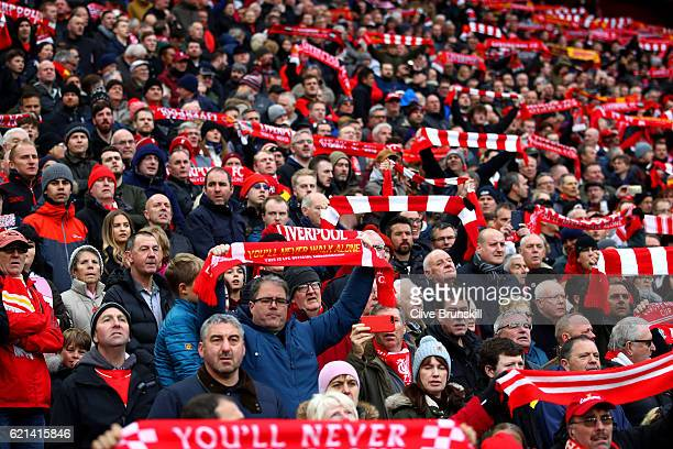 Fans show their support during the Premier League match between Liverpool and Watford at Anfield on November 6 2016 in Liverpool England