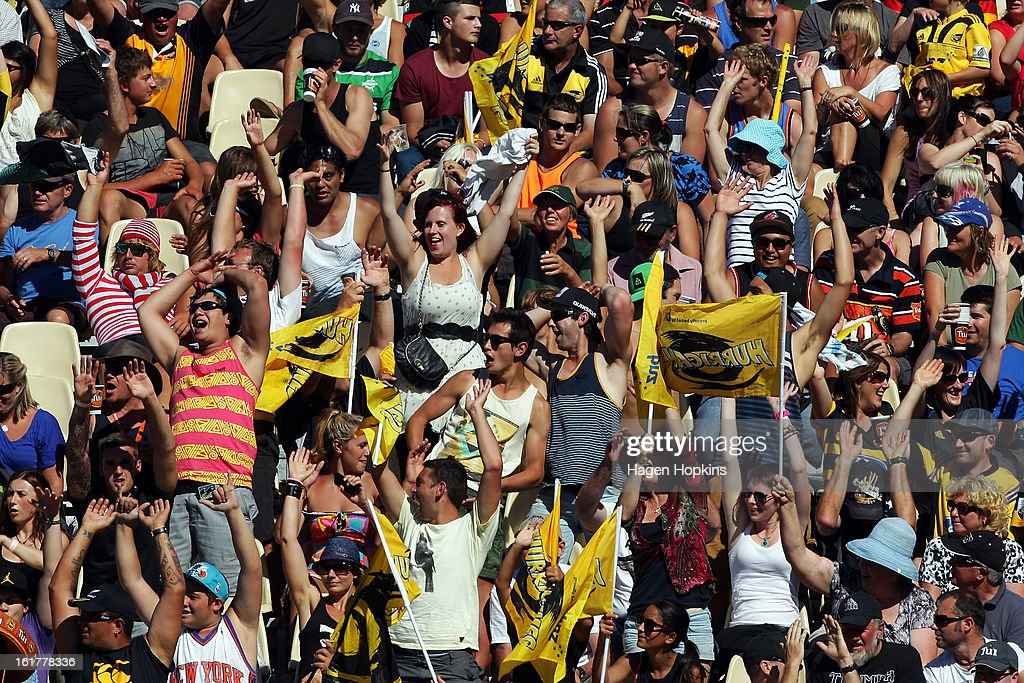 Fans show their support during the Super Rugby trial match between the Hurricanes and the Chiefs at Mangatainoka RFC on February 16, 2013 in Mangatainoka, New Zealand.