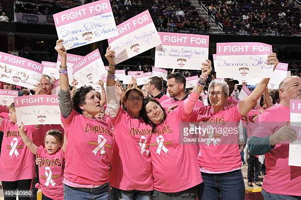 Fans show their support for Breast Cancer Awareness on October 19 2015 during the game between the Cleveland Cavaliers and the Dallas Mavericks at...