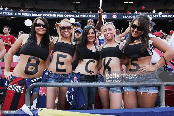 Fans show their support for David Beckham of the Los Angeles Galaxy prior to the match between the Galaxy and the New York Red Bulls at Giants...