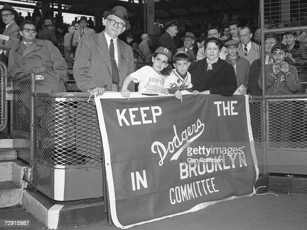 Fans show their support for keeping the Brooklyn Dodgers in Brooklyn during the 1957 season at Ebbets Field in Brooklyn New York Keep the Dodgers in...