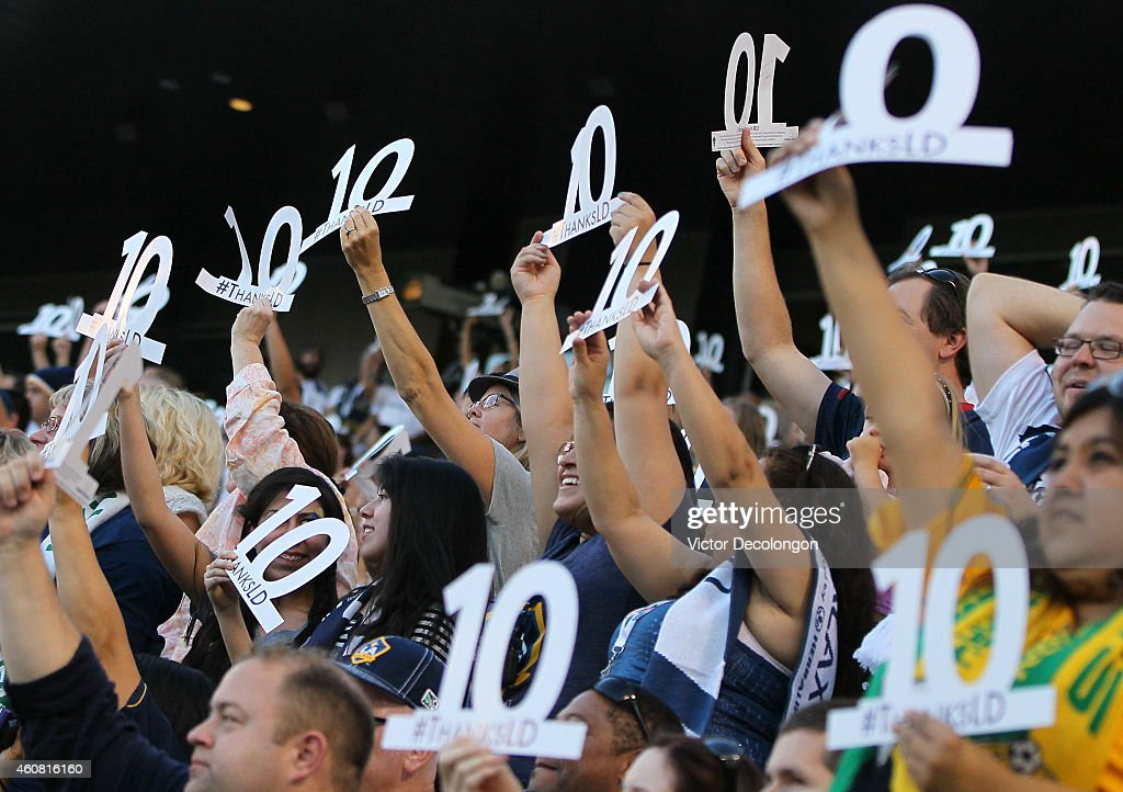 Fans show their support for Landon Donovan #10 of Los Angeles Galaxy (not in photo)by holding up the number 10 during the MLS match between the Seattle Sounders FC and the Los Angeles Galaxy at StubHub Center on October 19, 2014 in Los Angeles, California. This game is Donovan's last regular season game before retiring at the end of the 2014 MLS season. The Sounders and Galaxy played to a 2-2 draw.
