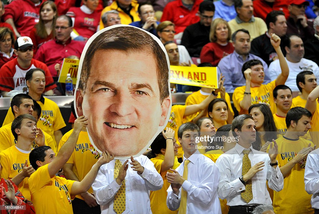 Fans show their support for Maryland head coach Mark Turgeon during a men's college basketball game against Virginia in College Park, Maryland, Sunday, February 10, 2013. Virginia won, 80-69.