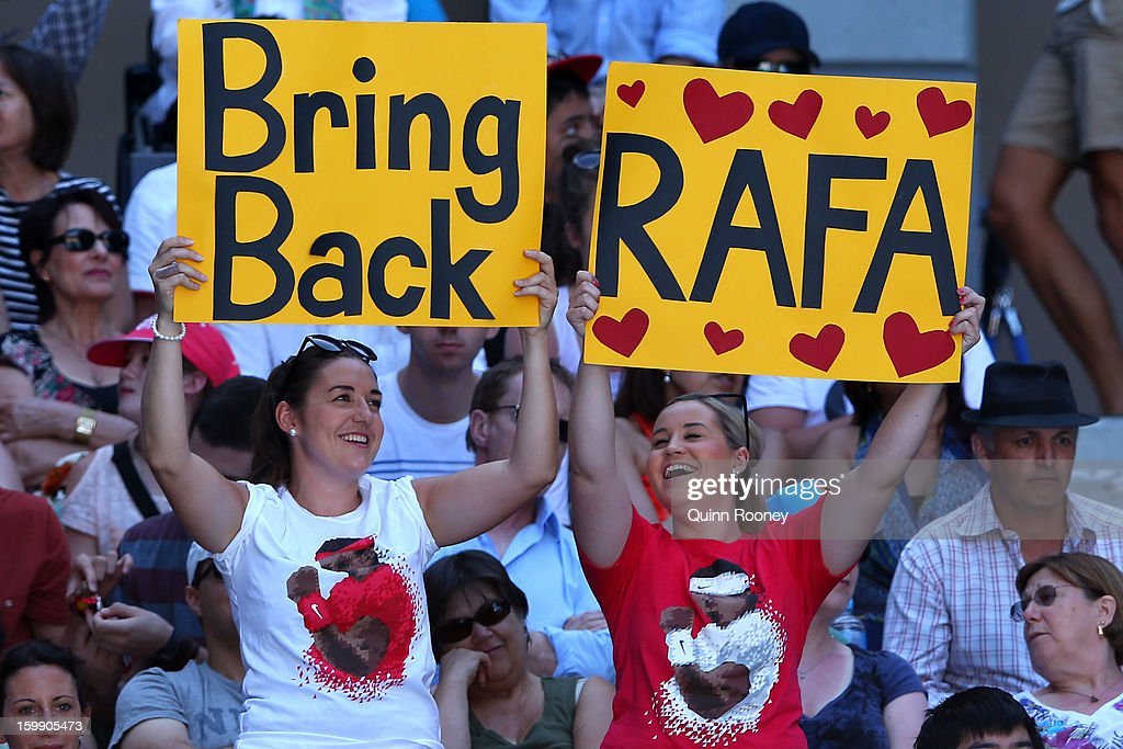 Fans show their support for Rafel Nadal, who is not playing in this year's tournament, in the Quarterfinal match between Jeremy Chardy of France and Andy Murray of Great Britain during day ten of the 2013 Australian Open at Melbourne Park on January 23, 2013 in Melbourne, Australia.