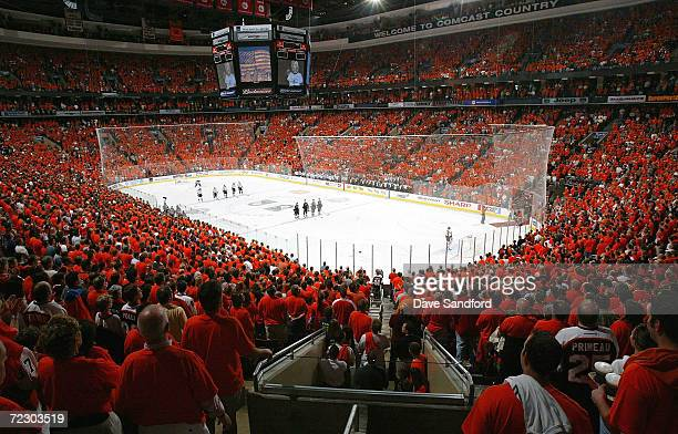 Fans show their support for the Flyers by wearing oranges shirts as the Tampa Bay Lightning prepare to take on the Philadelphia Flyers in Game four...
