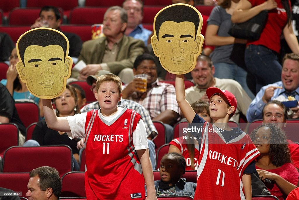 Fans show their support for Yao Ming #11 of the Houston Rockets during the game against the San Antonio Spurs at the Toyota Center on October 9, 2008 in Houston, Texas. The Rockets won 85-78.