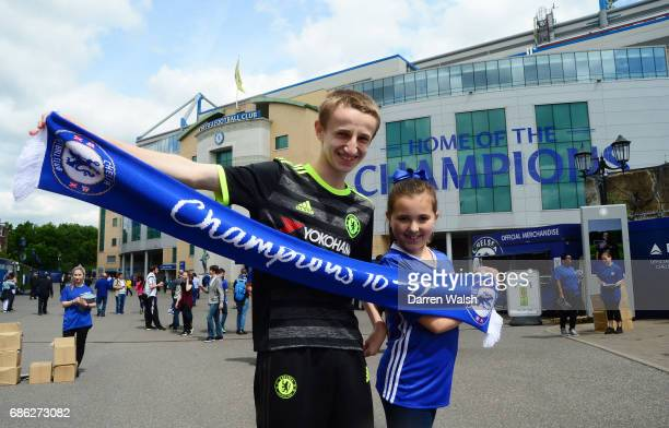 Fans show their support outside the stadium prior to the Premier League match between Chelsea and Sunderland at Stamford Bridge on May 21 2017 in...