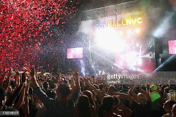 Fans sing along as Guns 'n' Roses sing 'Paradise City' at the 2013 Governor's Ball Music Festival at Randall's Island on June 8 2013 in New York City