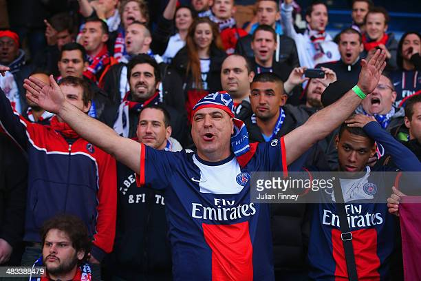 PSG fans sing during the UEFA Champions League Quarter Final second leg match between Chelsea and Paris SaintGermain FC at Stamford Bridge on April 8...