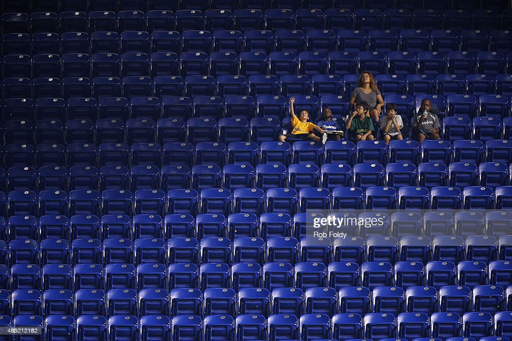 Fans sit in the stands prior to the game between the Miami Marlins and the Pittsburgh Pirates at Marlins Park on August 25, 2015 in Miami, Florida.