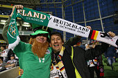Fans soak up the prematch atmosphere ahead of the UEFA EURO 2016 Qualifier group D match between Republic of Ireland and Germany at the Aviva Stadium...