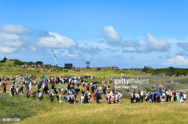 Fans spread out on the course to watch play during the final round of the 146th Open Championship at Royal Birkdale on July 23 2017 in Southport...
