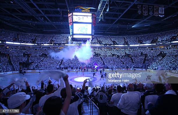 Fans stand and greet the players as they are introduced prior to Game Four of the Western Conference Quarterfinals between the Anaheim Ducks and...