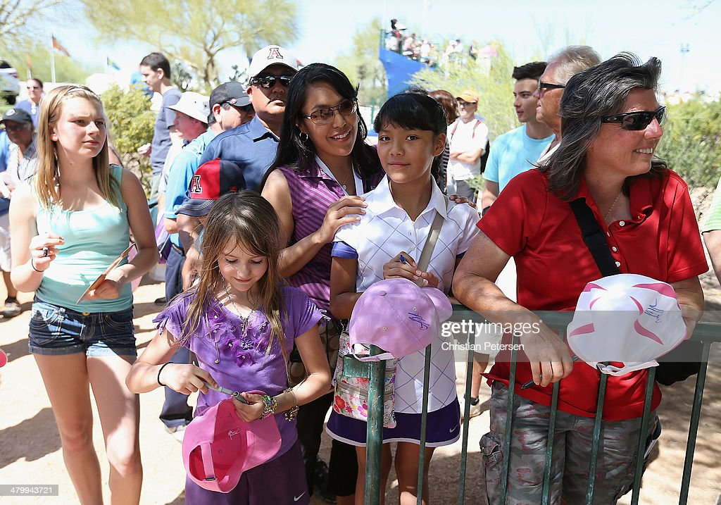 Fans stand near the ninth green waiting for player autographs during the second round of the JTBC LPGA Founders Cup at Wildfire Golf Club on March 21, 2014 in Phoenix, Arizona.