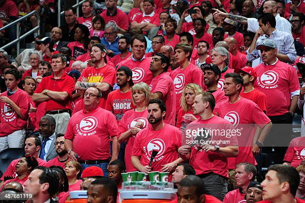 Fans stand up during Game Six of the Eastern Conference Quarterfinals between the Atlanta Hawks and the Indiana Pacers on May 1 2014 at Philips Arena...