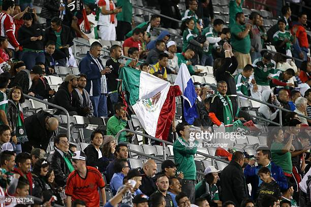 Fans support Mexico as they face Honduras during 2015 CONCACAF Olympic Qualifying at Dick's Sporting Goods Park on October 7 2015 in Commerce City...