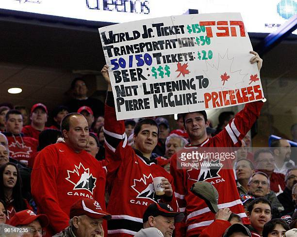 Fans support Team Canada during the 2010 IIHF World Junior Championship Tournament Semifinal game against Team Switzerland on January 3 2010 at the...